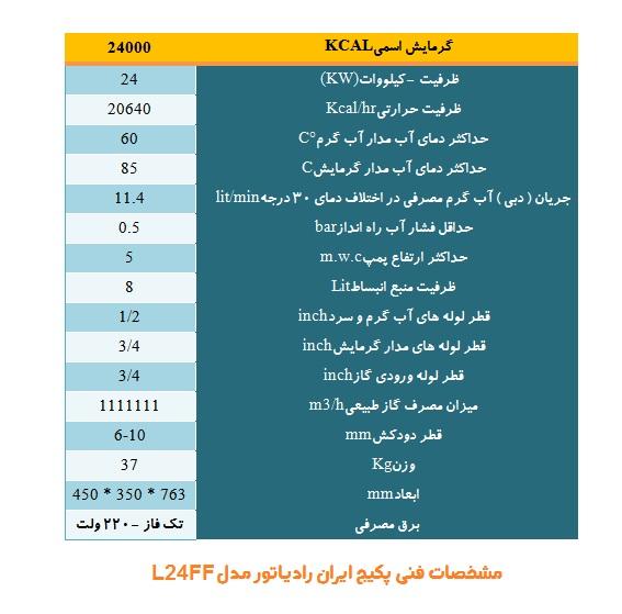 مشخصات پکیج ایران رادیاتور L24FF